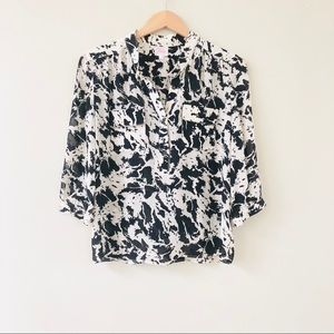 Parker Black and White Silk Button Front Blouse